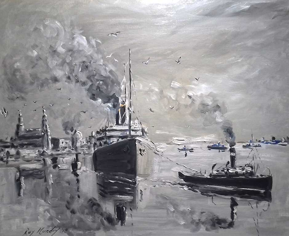 painting of ship leaving river mersey, liverpool, oil painting, liverpool paintings and prints to buy