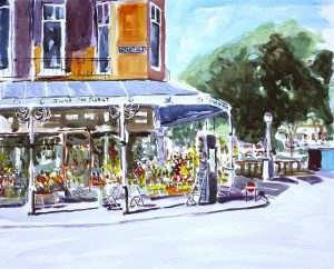 watercolour by artist roy munday, of june the florist, eastbank st. southport, merseyside