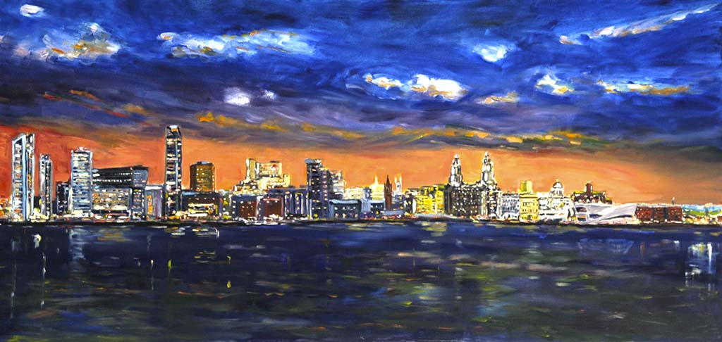 liverpool waterfront, at night, print, painting, buy painting, buy print, prints, liverpool