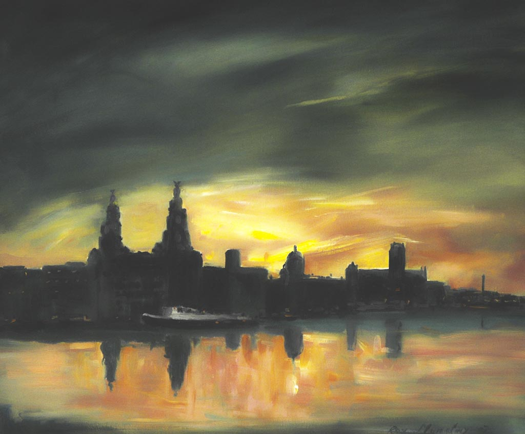 liver buildings, sunrise, morning, buy painting, of liverpool, waterfront, liverpool