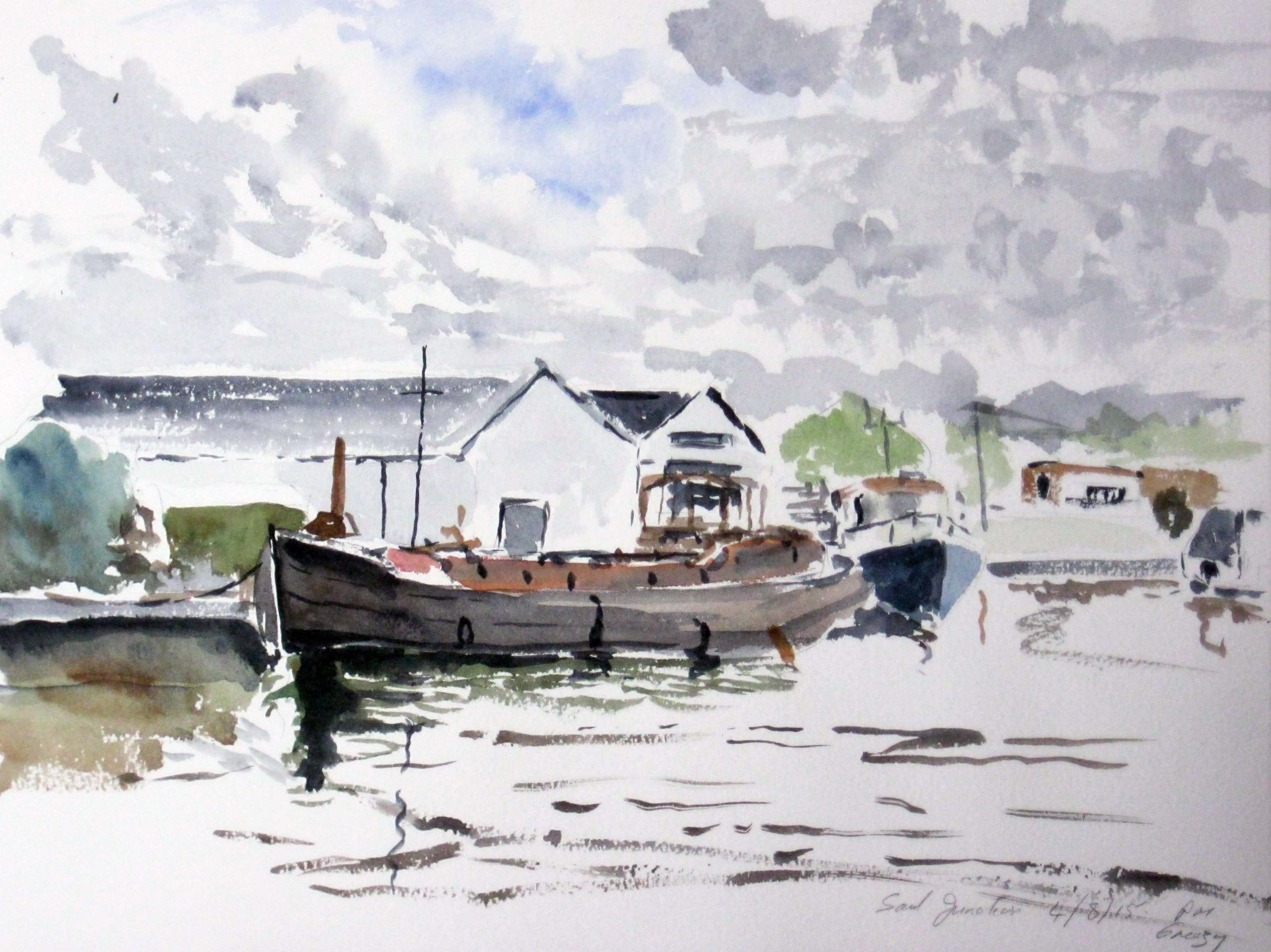 painting by artist roy munday of the dock, saul junction, sharpness to gloucester canal