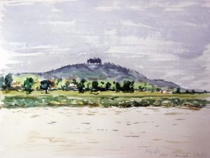 watercolour by artist roy munday, of may hill from across the river severn at framilode, gloucestershire