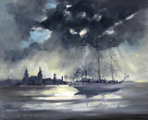 painting of tall ships visiting liverpool by artist roy munday