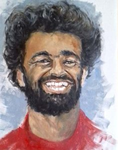 liverpool football club, oil portrait by roy munday of Mo Salah, Liverpool football club