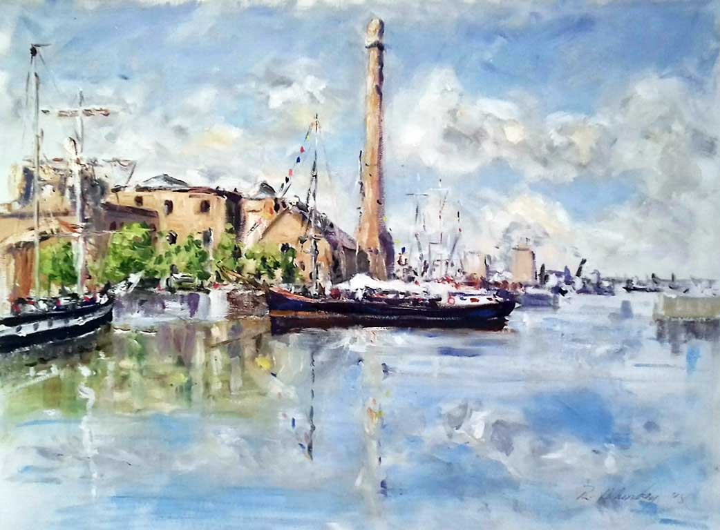buy print, painting of Liverpool albert dock, waterfront, Liverpool, Merseyside